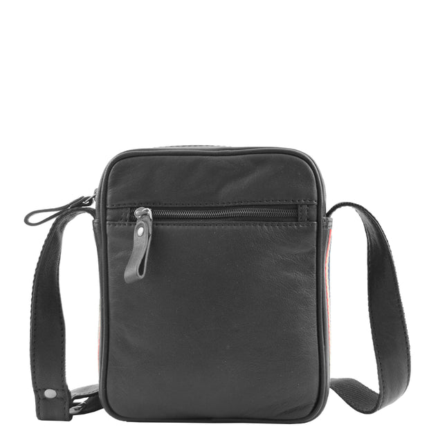 Mens Black Leather Cross Body Flight Bag Small Pouch Fred Back