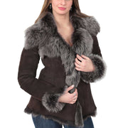 Womens Fitted Genuine Toscana Real Sheepskin Coat Pearl Brown