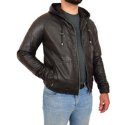 Mens Real Black Leather Bomber Hoodie Jacket Sports Fitted Coat Kent Open Side 2