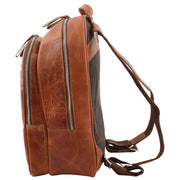 High Quality Genuine Tan Leather Backpack Large Size Work Casual Travel Bag Trek Side