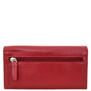 Womens Soft Leather Clutch Purse Envelope Style Wallet AVT3 Red Back