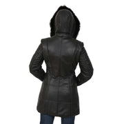 Womens Quilted 3/4 Long Parka Leather Coat with Hood Kelly Black Back 2