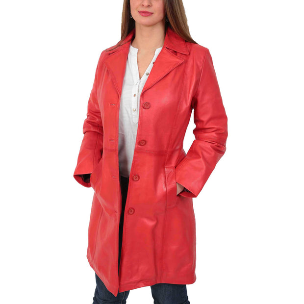 Womens 3/4 Button Fasten Leather Coat Cynthia Red Open 1