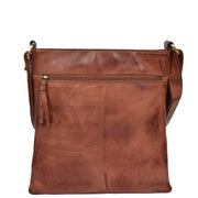 Womens Soft Leather Designer Vintage Tan Shoulder Cross body Bag Malaga