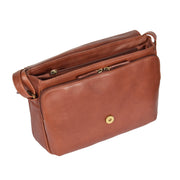 Ladies BROWN Leather Shoulder Bag Flap Over Handbag A190 Open