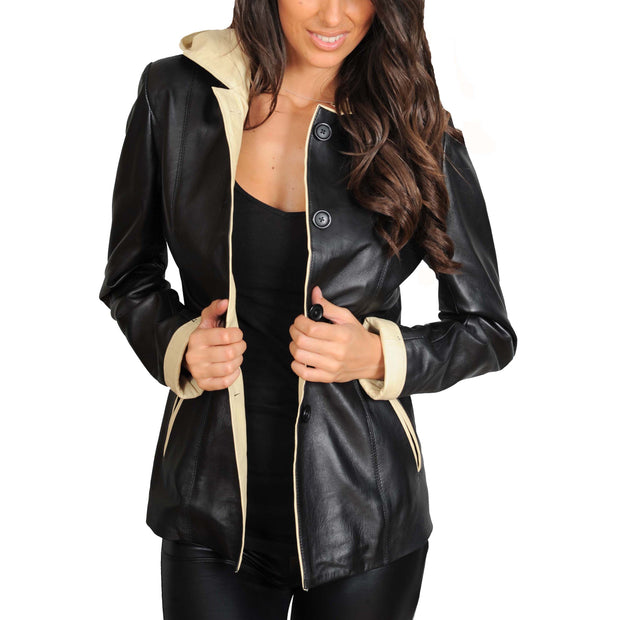 Womens Real Leather Blazer Jacket Mid Length Hooded Coat Eva Black Open