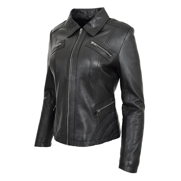 Ladies Soft Leather Jacket Fitted Collared Zip Fasten Biker Style Leah Black Front Angle 1