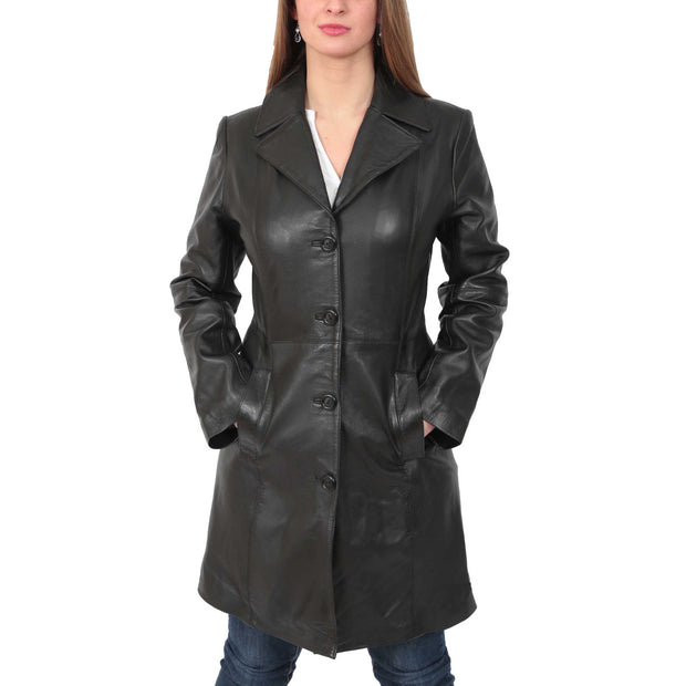 Womens 3/4 Button Fasten Leather Coat Cynthia Black button up