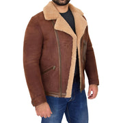 Mens Real Sheepskin Jacket Antique Flying Shearling B3 Coat Rocky Brown Open 1