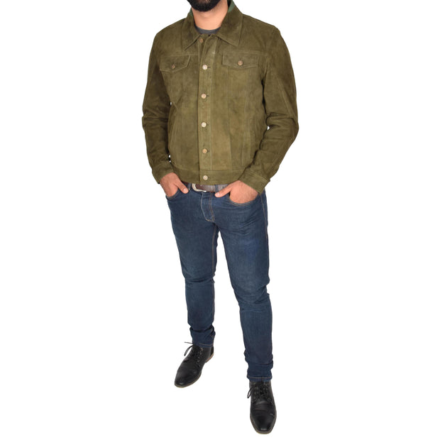 Mens Real Soft Goat Suede Trucker Denim Style Jacket Chuck Green Full