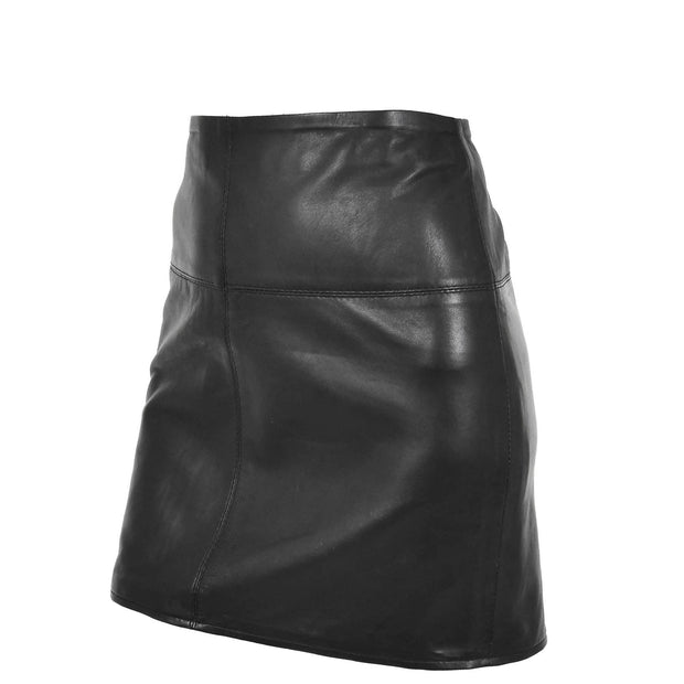 Womens Leather Mini Skirt Ivy Black angle