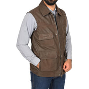 Countrymen Brown Leather Waistcoat Multi Pockets Gilet Boyles front 2