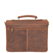 Mens REAL Leather Briefcase Vintage Look Satchel Shoulder Bag A167 Tan Back