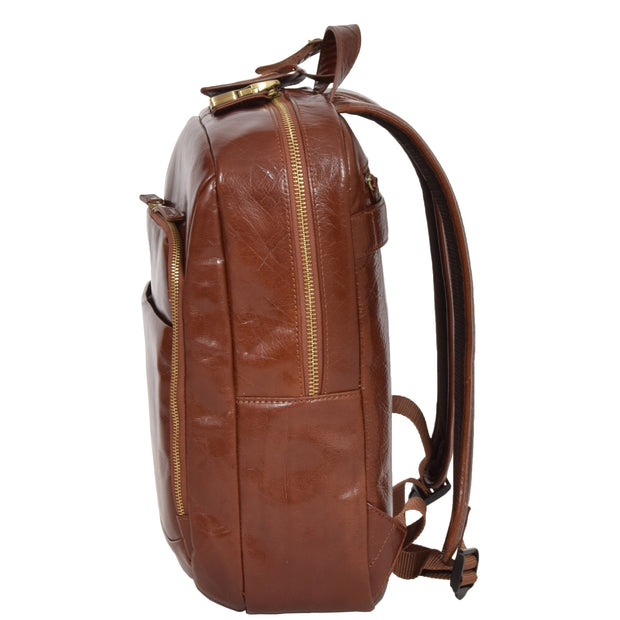Womens Backpack Chestnut Real Leather Large Travel Rucksack Cora Side