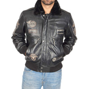 Mens Pilot Leather Jacket Air Force Badges Bomber Coat Luca Black Front