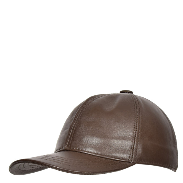 Genuine Leather Baseball Cap Sports Casual Viper Brown Side Angle
