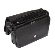 Ladies BLACK Leather Shoulder Bag Flap Over Handbag A190 Open