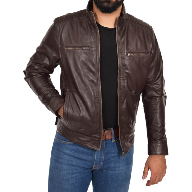 Mens Genuine Leather Biker Jacket Fitted Zip Up Coat Felix Brown Open 1