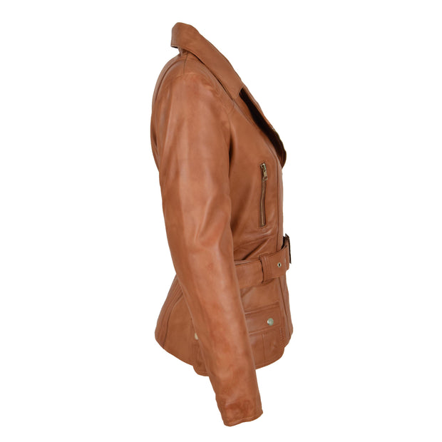 Womens Biker Leather Jacket Slim Fit Cut Hip Length Coat Coco Tan Side
