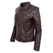 Ladies Soft Leather Jacket Fitted Collared Zip Fasten Biker Style Leah Brown Front Angle 1