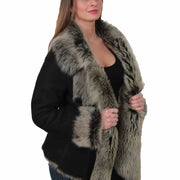 Womens Fitted Genuine Toscana Real Sheepskin Coat Pearl Black Open