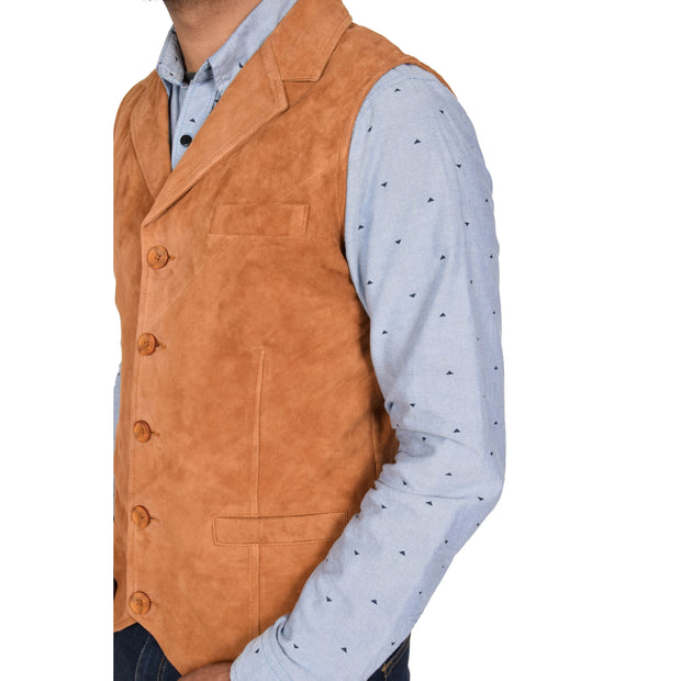 Mens Real Suede Leather Waistcoat Classic Vest Yelek Status Tan Feature