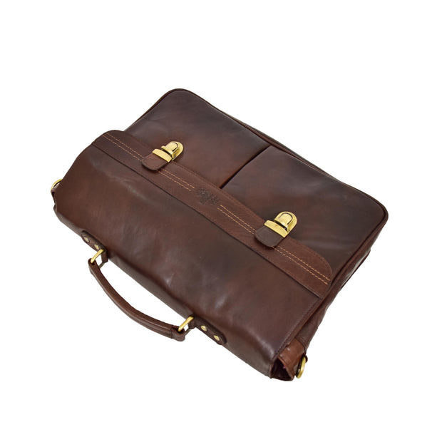 Genuine Leather Briefcase for Mens Business Office Laptop Bag Edgar Brown Top Letdown