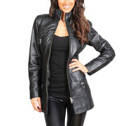 Womens 3/4 Long Zip Fasten Leather Jacket Carol Black zip open