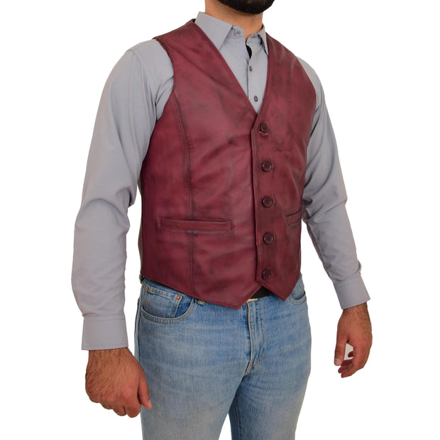 Mens Full Leather Waistcoat Burgundy Gilet Traditional Smart Vest King