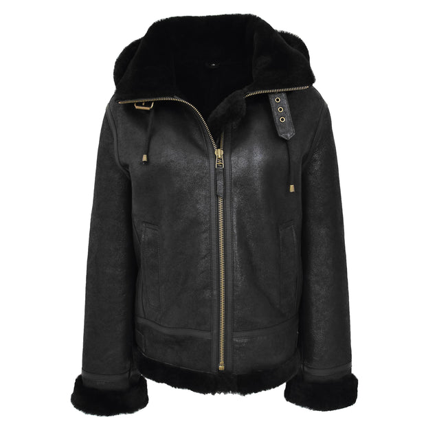 Womens Real Black Sheepskin Jacket Hooded Shearling B3 Pilot Coat Maria Front With Hood