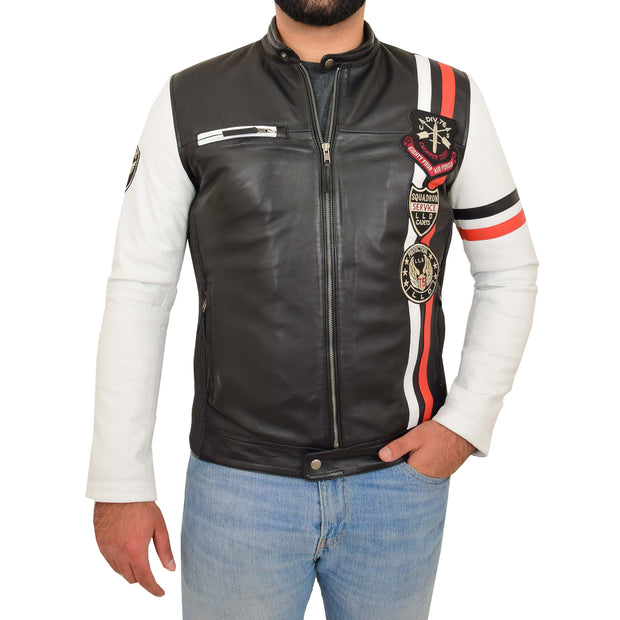 Mens Biker Leather Jacket Black White Sleeves Badges Stripes Sports Style Gears Front