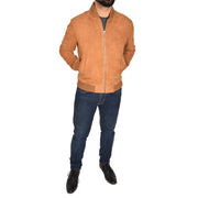 Mens Soft Goat Suede Bomber Varsity Baseball Jacket Blur Tan Full 1