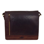 Mens Messenger Leather Bag Casual Office Students Man Bag Barney Brown Front