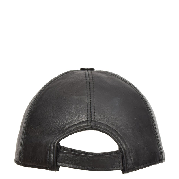 Genuine Leather Baseball Cap Sports Casual Viper Black Back