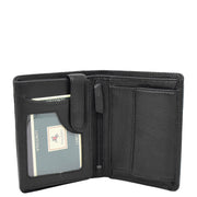 Mens Soft Durable Leather Wallet Cards Coins Notes ID Holder AV111 Black Open 1