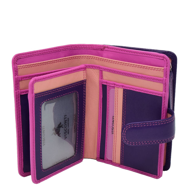 Womens Leather Booklet Evening Clutch Purse Multi Colour Wallet AVB51 Berry Open 1