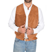 Mens Real Suede Leather Waistcoat Classic Vest Gilet Cole Tan Open