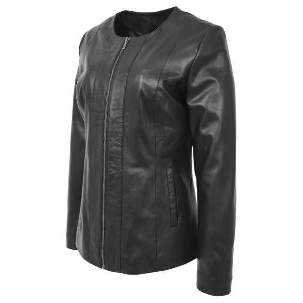 Womens Collarless Black Leather Jacket Round Neck Semi Fit Chelo Front Angle