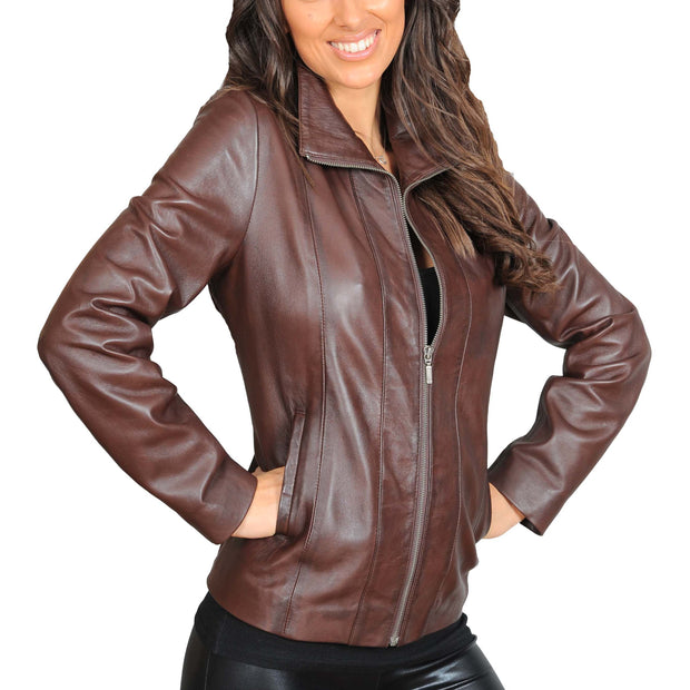 Womens Classic Fitted Biker Real Leather Jacket Nicole Brown Front 2