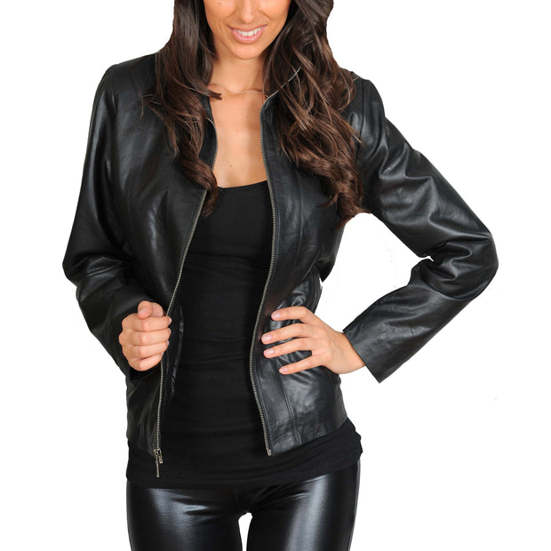 Womens Classic Fitted Biker Real Leather Jacket Nicole Black Open