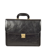 Mens Leather Look Briefcase Office Business Executive Bag A5071 Black Front