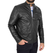 Trendy Genuine Soft Leather Biker Zipper Jacket For Men Rider Black