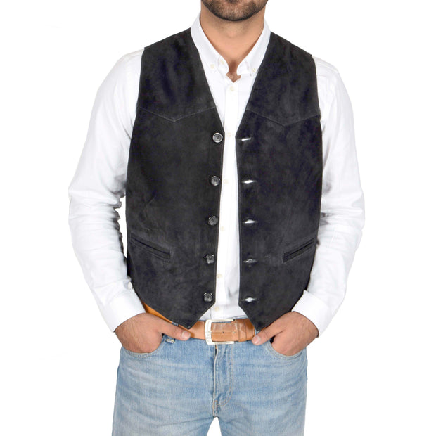 Mens Real Suede Leather Waistcoat Classic Vest Gilet Cole Black Open