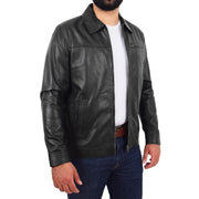 Mens Leather Jacket Genuine Soft Black Zip Fasten Box Style Sean Open 2