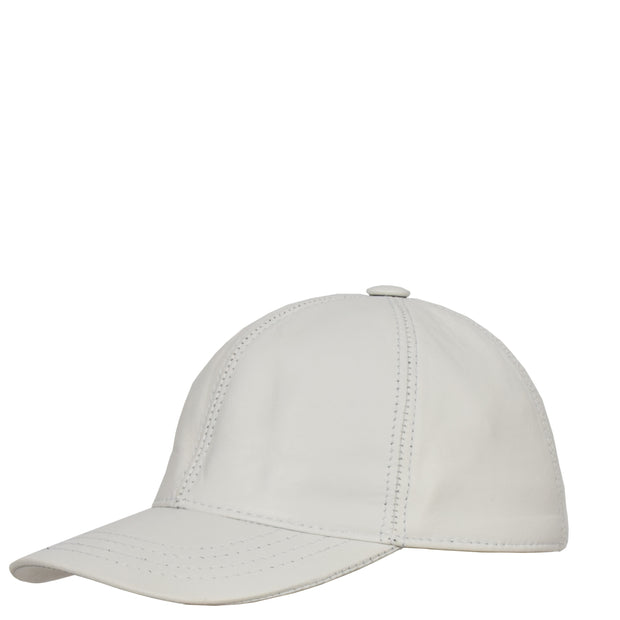 Genuine Leather Baseball Cap Sports Casual Viper White Side Angle