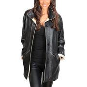 Ladies Classic Parka Real Leather Coat Trim Jacket Lulu Black-Beige Open