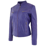 Womens Fitted Leather Biker Jacket Casual Zip Up Coat Jenny Purple 1
