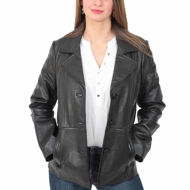 Ladies Leather Blazer Coat Fitted Classic Hip Length Jacket Judy Black Open 1