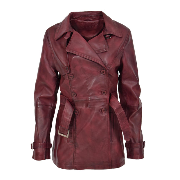 Womens Soft Leather Trench Coat Olivia Burgundy Front 2