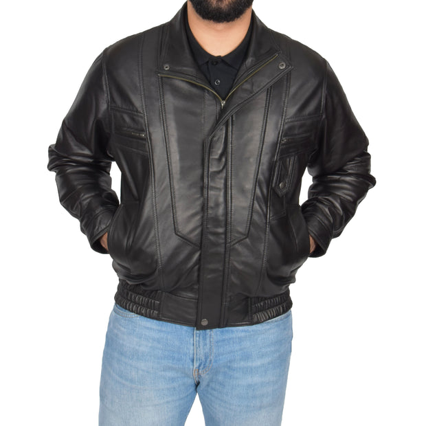 Mens Classic Bomber Soft Leather Jacket Alan Black zip up view